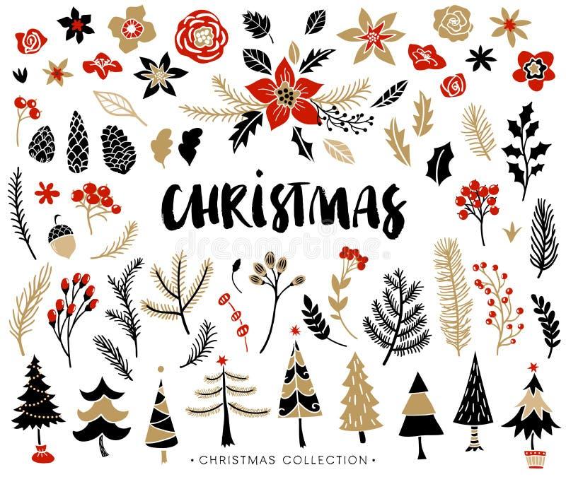Kerstmisreeks installaties met bloemen en Kerstbomen royalty-vrije illustratie