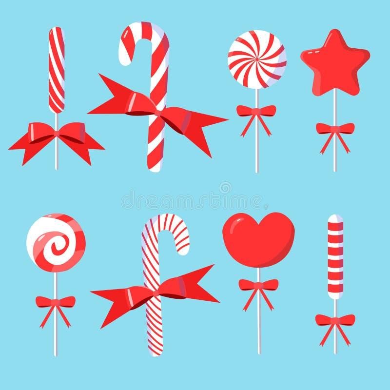 Kerstmisreeks van suikergoedriet met bogen in modern vlak ontwerp vector illustratie