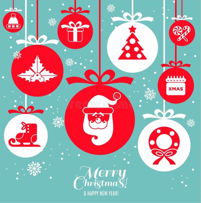 Kerstmisregeling op blauw met speelgoed royalty-vrije illustratie