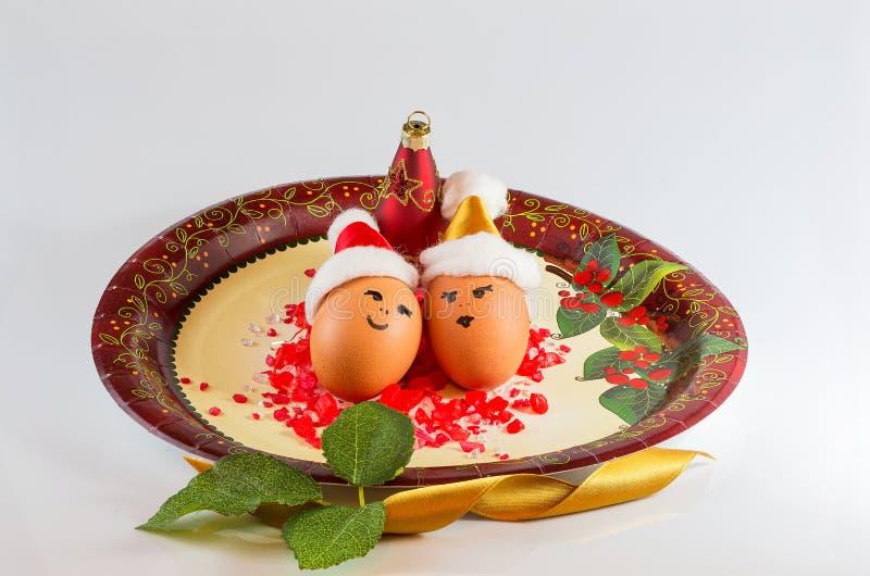 Kerstmisregelingen met eieren stock fotografie