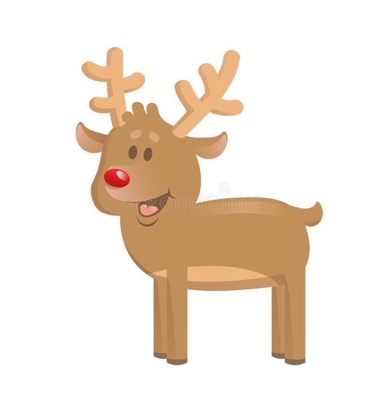 Kerstmisrendier status Het karakter van het beeldverhaal Vlakke vectorillustratie Geïsoleerdj op witte achtergrond stock illustratie