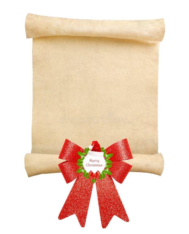 Kerstmisrol met grote rode boog royalty-vrije stock foto's