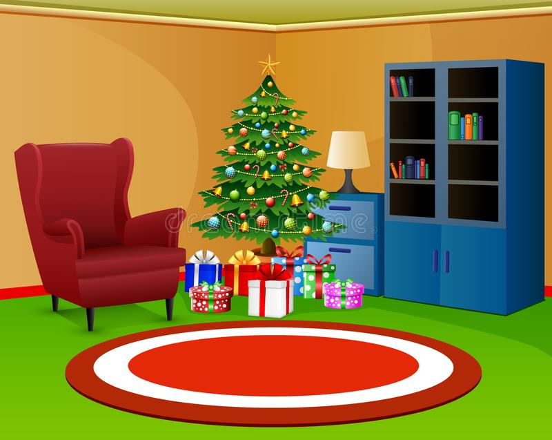 Kerstmisruimte met boekenkast een rode leunstoel stock illustratie