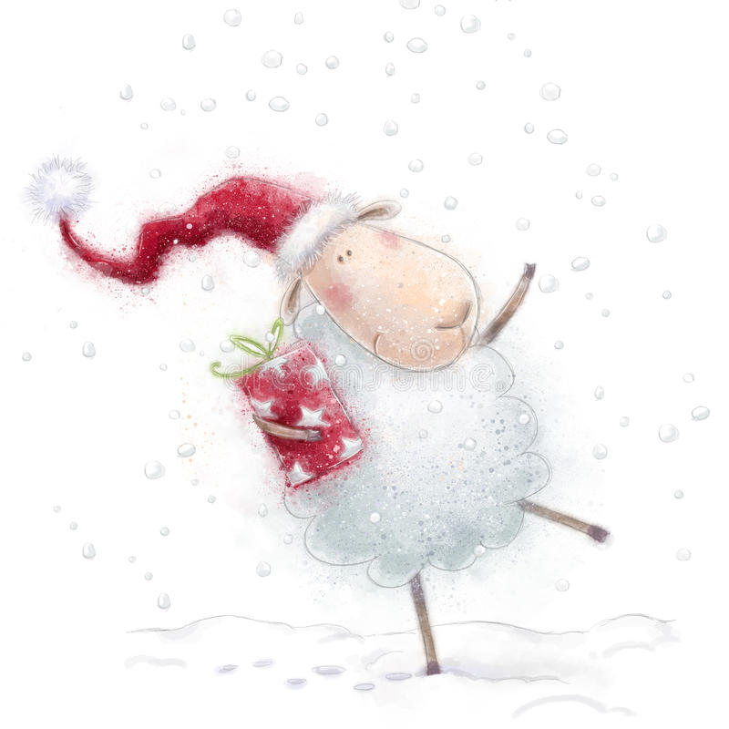 Kerstmisschapen Leuke schapen met de gift in Kerstmanhoed op sneeuwachtergrond De Kerstman op een slee Gelukkig Nieuwjaar stock illustratie