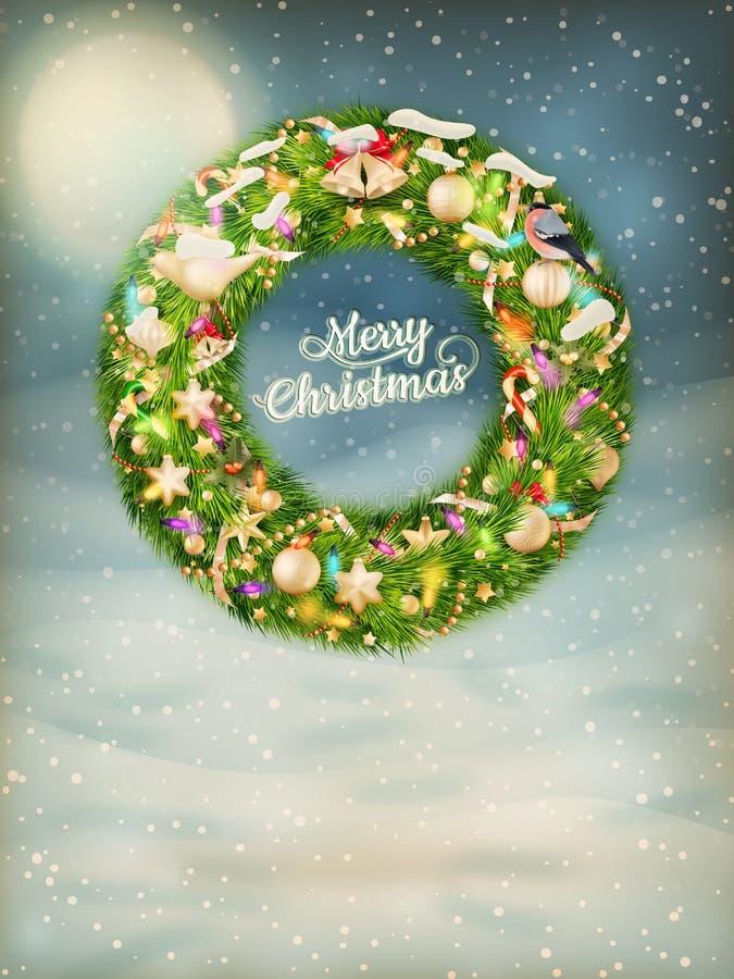 Kerstmisslinger met snuisterijen Eps 10 vector illustratie