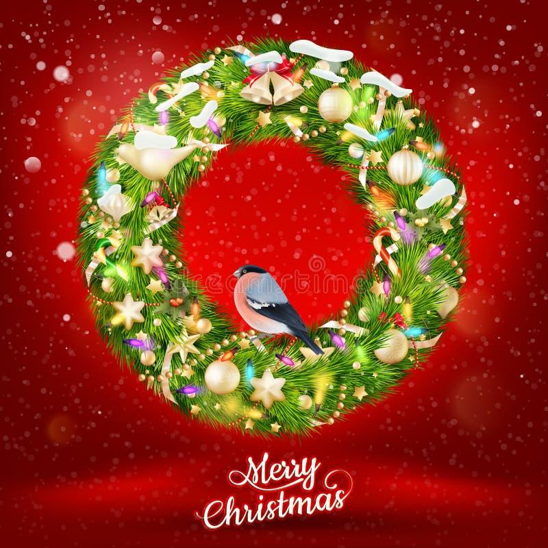 Kerstmisslinger met snuisterijen Eps 10 stock illustratie