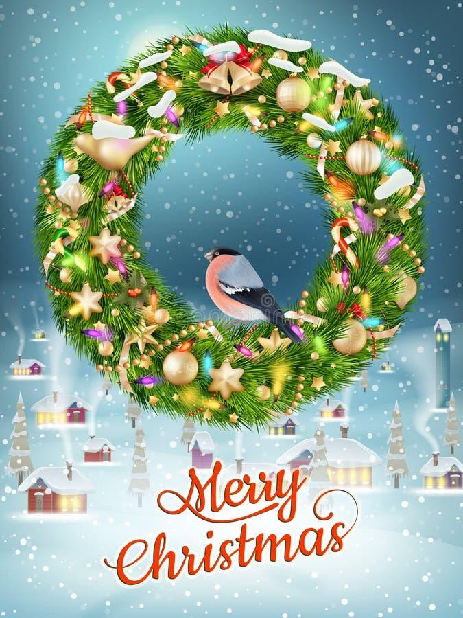 Kerstmisslinger met snuisterijen Eps 10 royalty-vrije illustratie