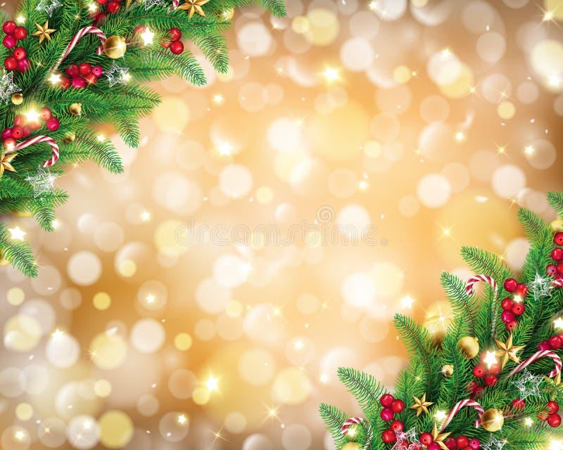 Kerstmisslinger op rijke gouden bokehachtergrond royalty-vrije illustratie