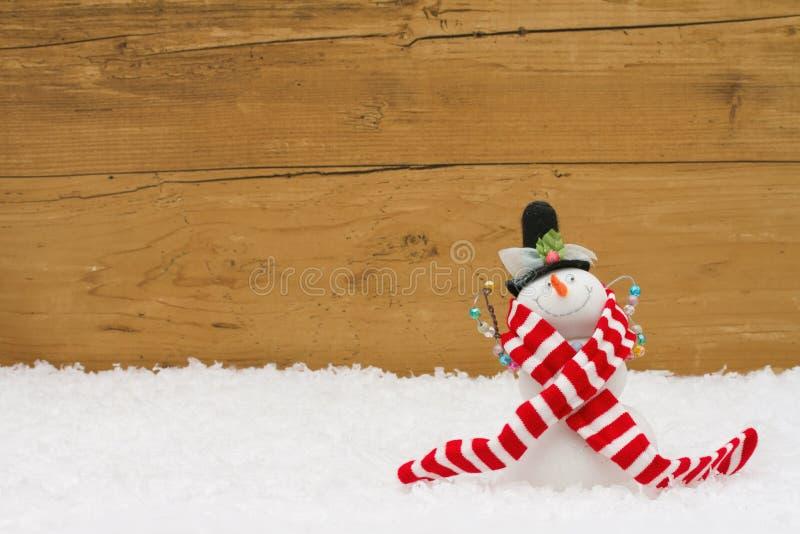 Kerstmissneeuwman met exemplaar-ruimte stock foto