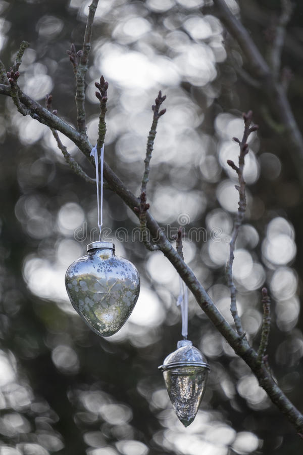 Kerstmissnuisterij die buiten hangen stock foto's