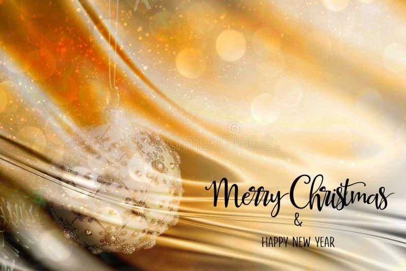 Kerstmissnuisterij op een gouden en zilveren abstracte achtergrond royalty-vrije stock foto