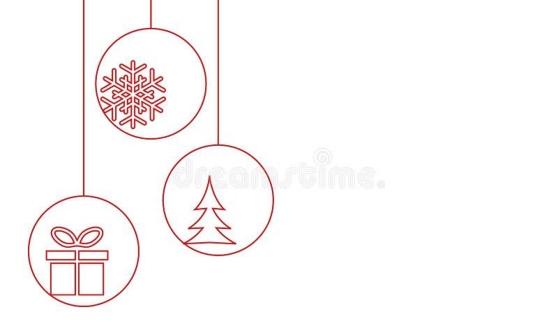 Kerstmissnuisterijen met sneeuwvlok, Kerstmisboom en giftdoos stock illustratie