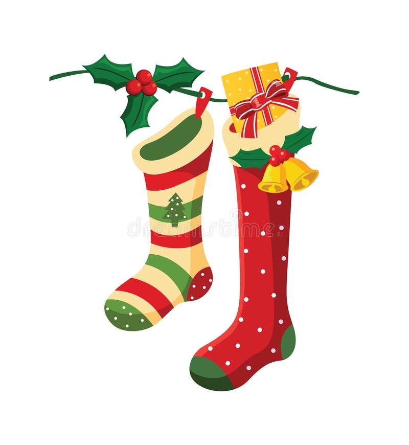Kerstmissokken. vector illustratie