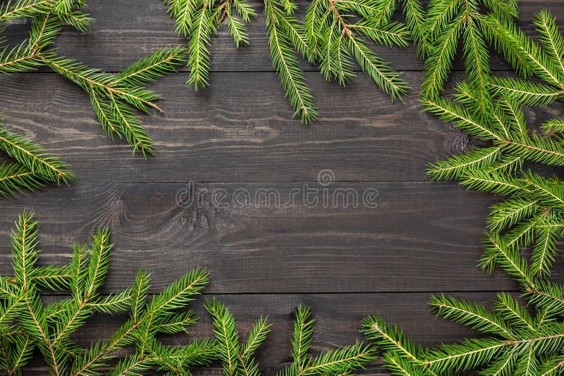 Kerstmisspar op een donkere houten raad Kerstmis of nieuw jaarkader voor uw project met exemplaarruimte stock afbeeldingen