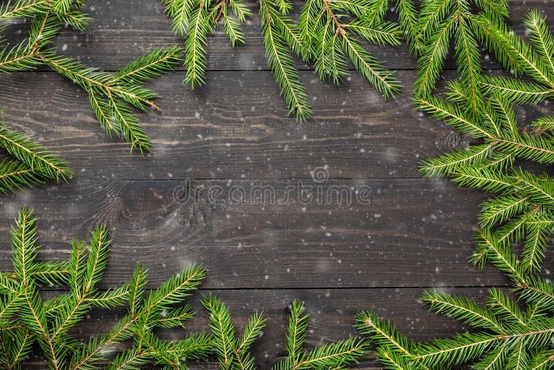 Kerstmisspar op een donkere houten raad met sneeuw Kerstmis of nieuw jaarkader voor uw project met exemplaarruimte stock afbeelding