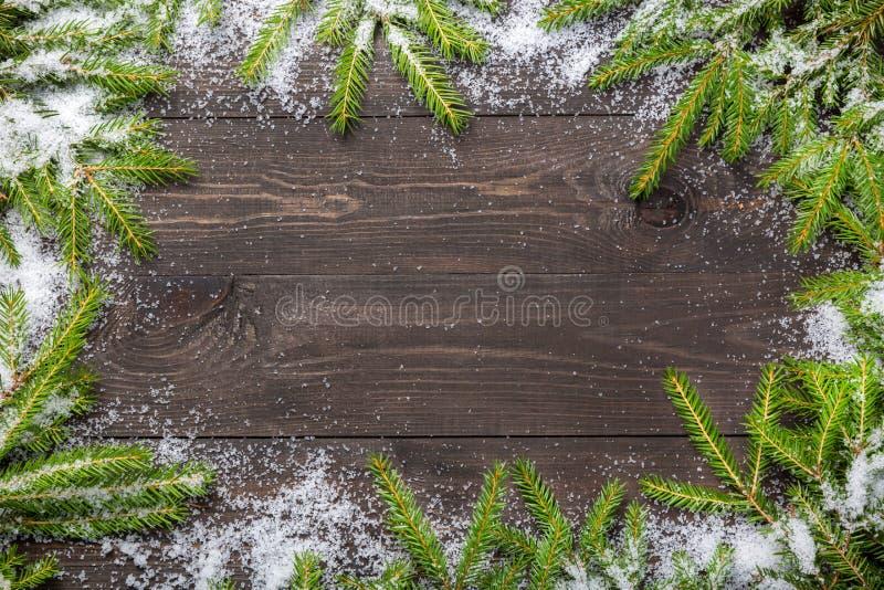 Kerstmisspar op een donkere houten raad met sneeuw Kerstmis of nieuw jaarkader voor uw project met exemplaarruimte stock afbeeldingen