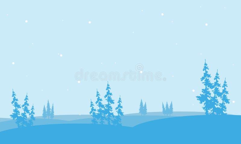 Kerstmissparren in heuvel van silhouet stock illustratie
