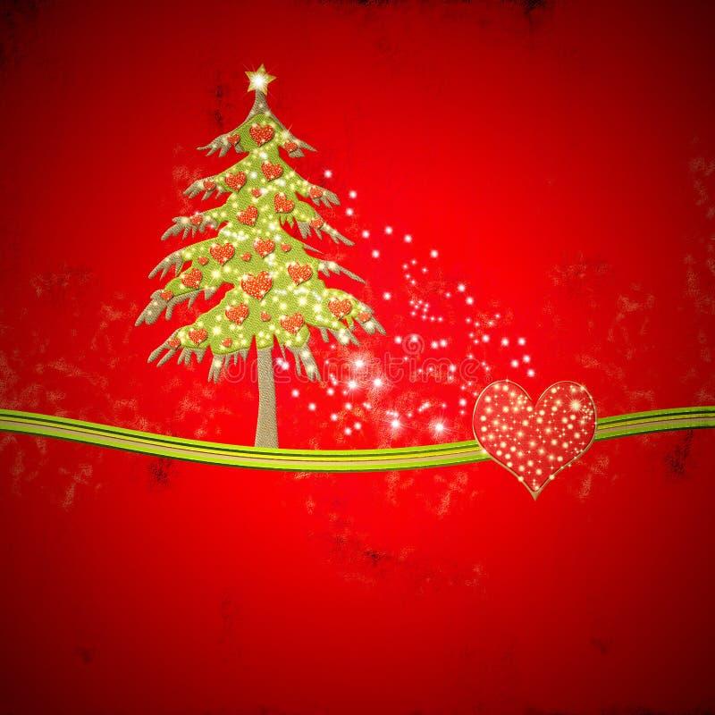 Kerstmisspatie met spar en glanzende harten vector illustratie