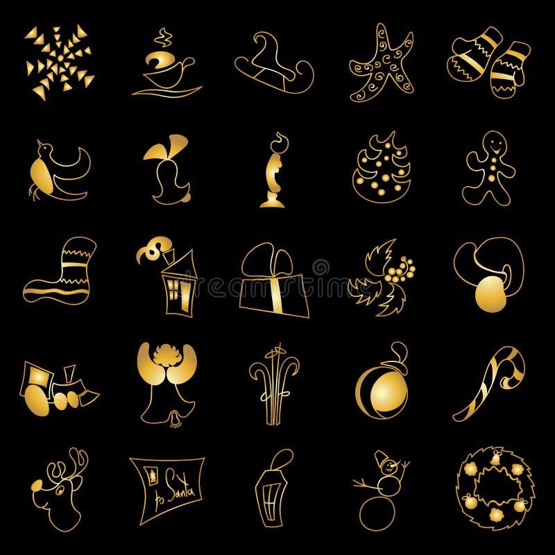 Kerstmisspeelgoed en stickers gouden ornated metaalvoorwerpen op zwarte vector illustratie
