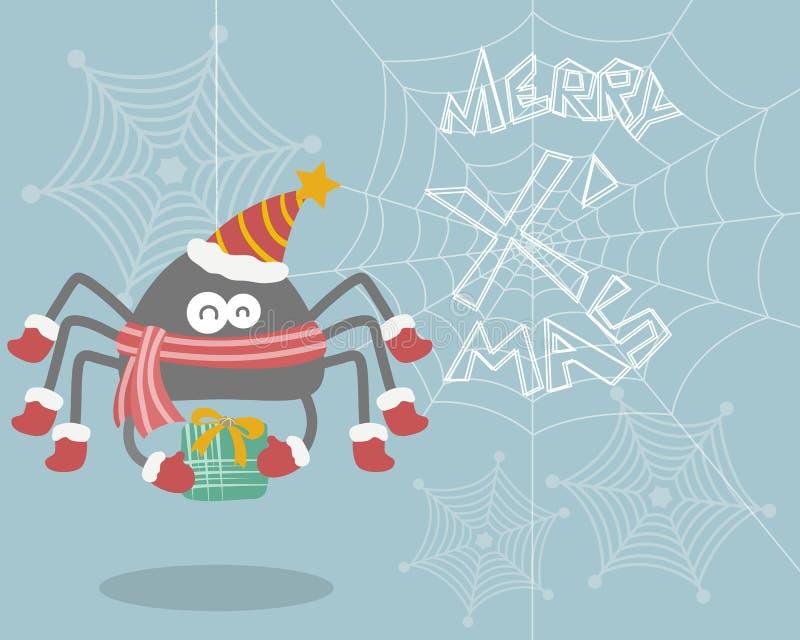 Kerstmisspin op Web met Blauwe Achtergrond stock illustratie