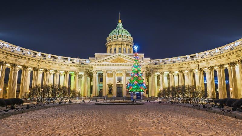 Kerstmisst. petersburg Kazan Kathedraal royalty-vrije stock afbeeldingen