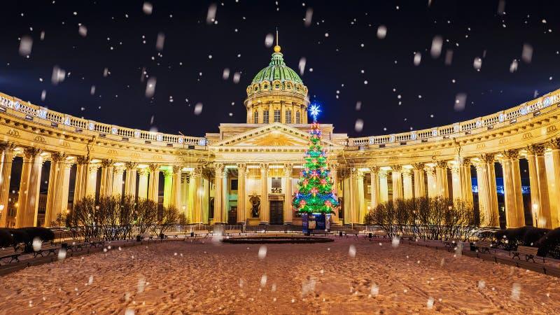 Kerstmisst. petersburg Kazan Kathedraal royalty-vrije stock foto