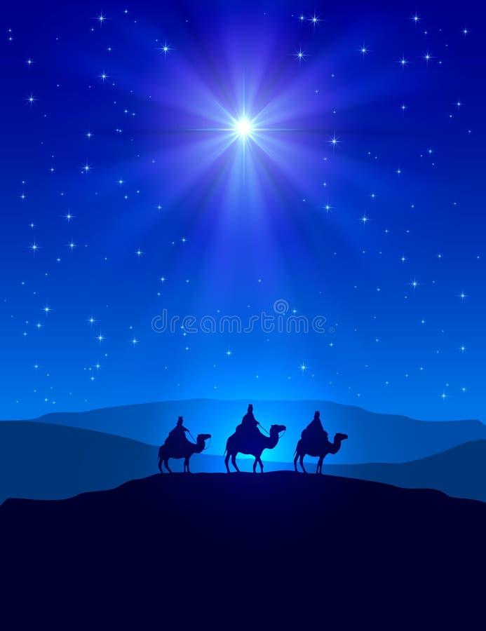Kerstmisster op blauwe hemel en drie wijzen stock illustratie