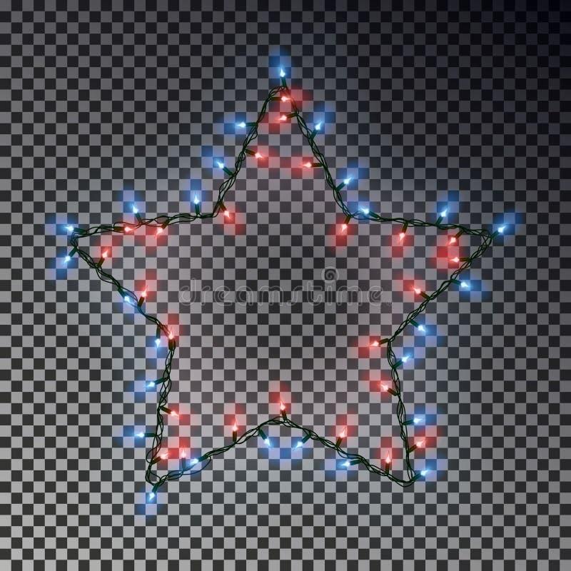 Kerstmisster van lichtenkoord op transparante achtergrond wordt geïsoleerd die De lampelementen van de Kerstmisdecoratie G vector illustratie