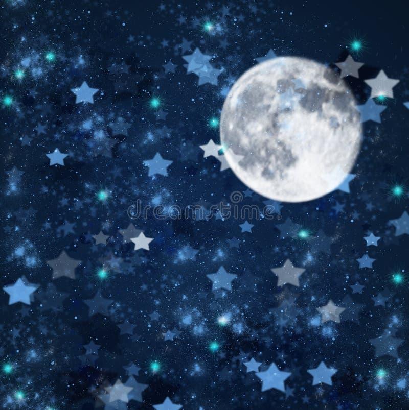 Kerstmissterren en maanachtergrond vector illustratie