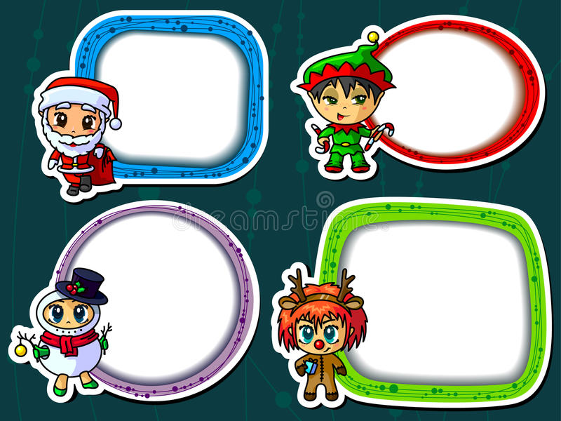 Kerstmisstickers vector illustratie