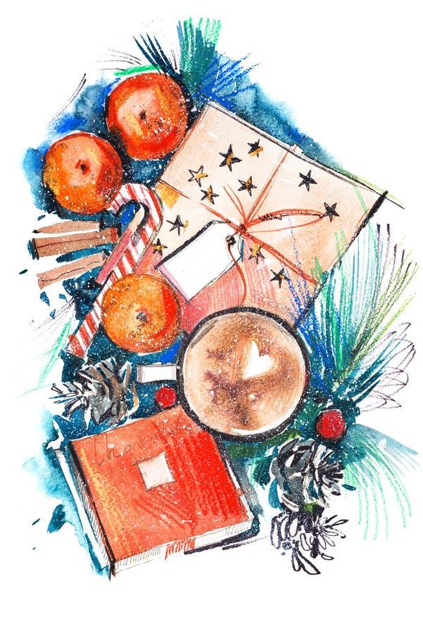 Kerstmisstilleven met mandarine koffiechocolade watercolor vector illustratie