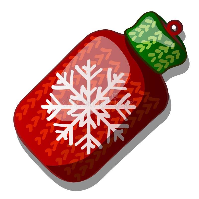 Kerstmisstuk speelgoed in de vorm van een wollen gebreide fles rode en groene die kleur met sneeuwvlok op witte achtergrond wordt vector illustratie