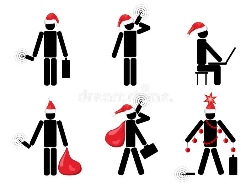 Kerstmissymbolen van de zakenman royalty-vrije illustratie