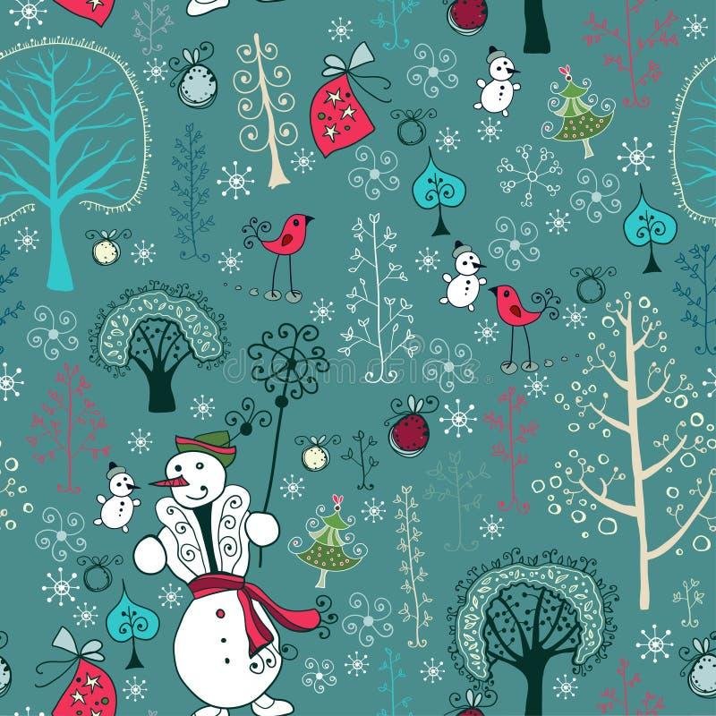 Kerstmistextuur met Kerstman, herten, sneeuwman vector illustratie