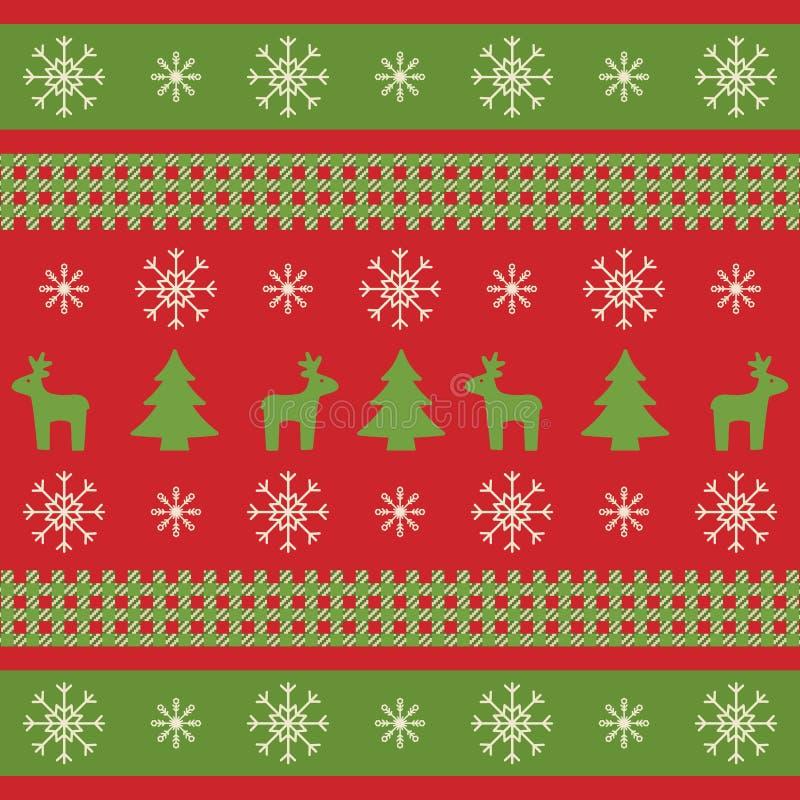 Kerstmistextuur met rendieren, Kerstmisbomen en sneeuwvlokken Helder Kerstmis verpakkend document in traditionele kleuren De wint stock illustratie