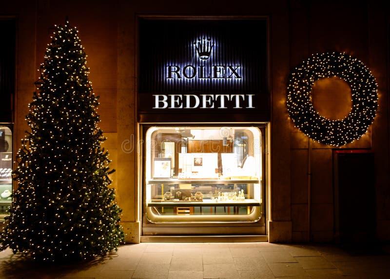 Kerstmistijd bij Bedetti-Opslag Rome Italië stock afbeeldingen
