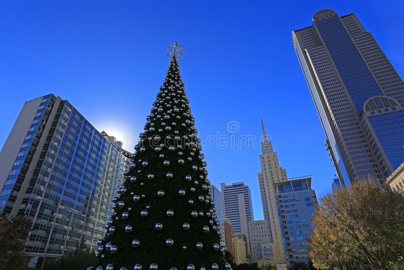 Kerstmistijd in Dallas Van de binnenstad royalty-vrije stock foto's