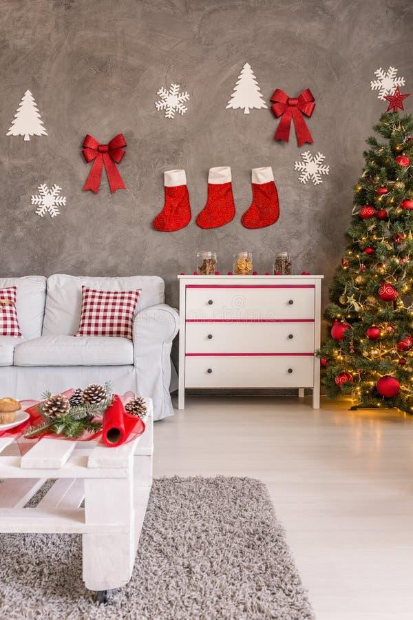 Kerstmistijd thuis royalty-vrije stock foto