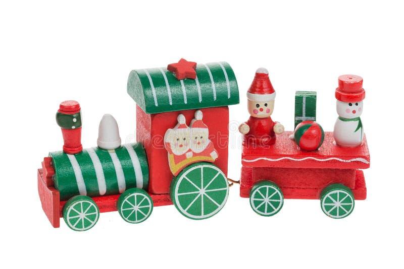Kerstmistrein en sneeuwman met santa en vrienden op witte achtergrond worden geïsoleerd die Chrtistmasdecoratie royalty-vrije stock fotografie