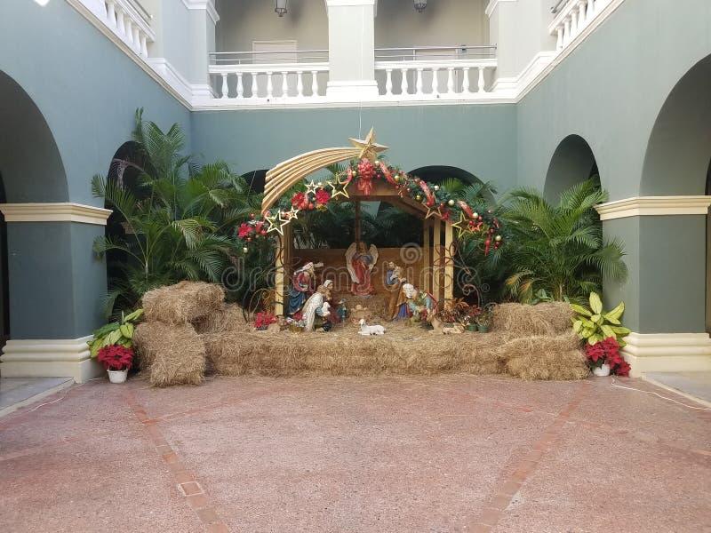 Kerstmistrog of geboorte van Christussc?ne in Ponce, Puerto Rico royalty-vrije stock afbeelding