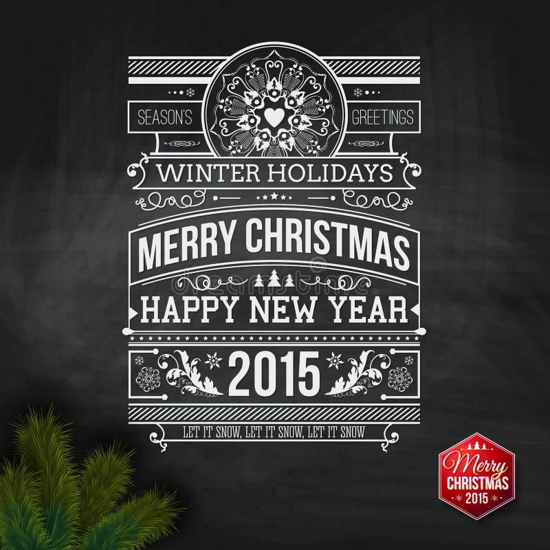 Kerstmistypografie voor uw ontwerp van de de wintervakantie vector illustratie