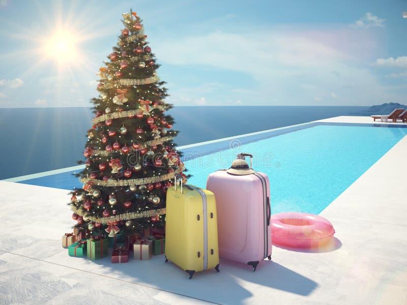 Kerstmisvakantie bij de pool het 3d teruggeven royalty-vrije illustratie