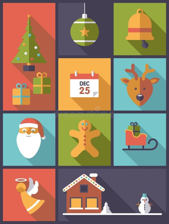 Kerstmisvakantie en van de wintersymbolen verticale vectorillustrati vector illustratie