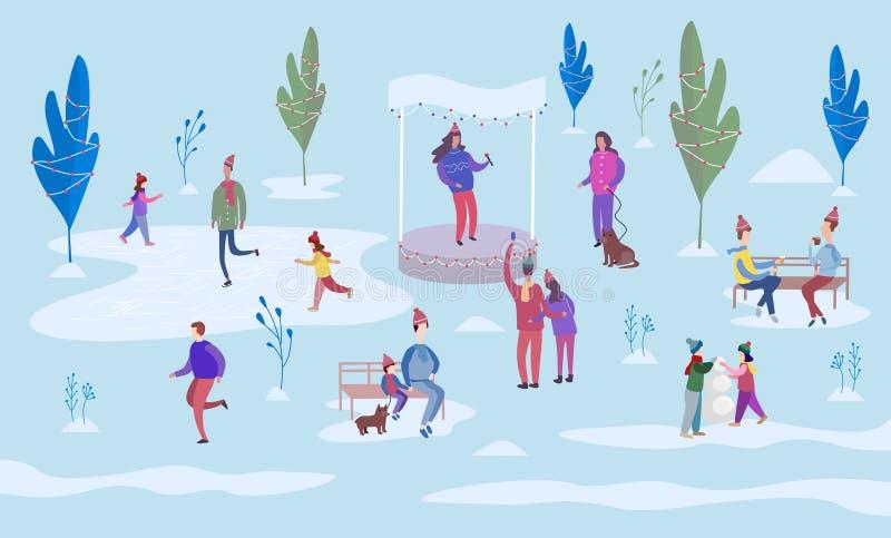 Kerstmisvakantie openlucht Mensenijs die op de piste schaatsen en tussen verfraaide bomen lopen Zit op parkbanken en gang met vector illustratie