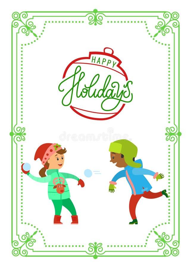 Kerstmisvakantie van Kinderen die Sneeuwballen spelen vector illustratie