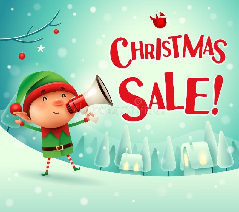 Kerstmisverkoop! Weinig elf met megafoon in het landschap van de de scènewinter van de Kerstmissneeuw stock illustratie
