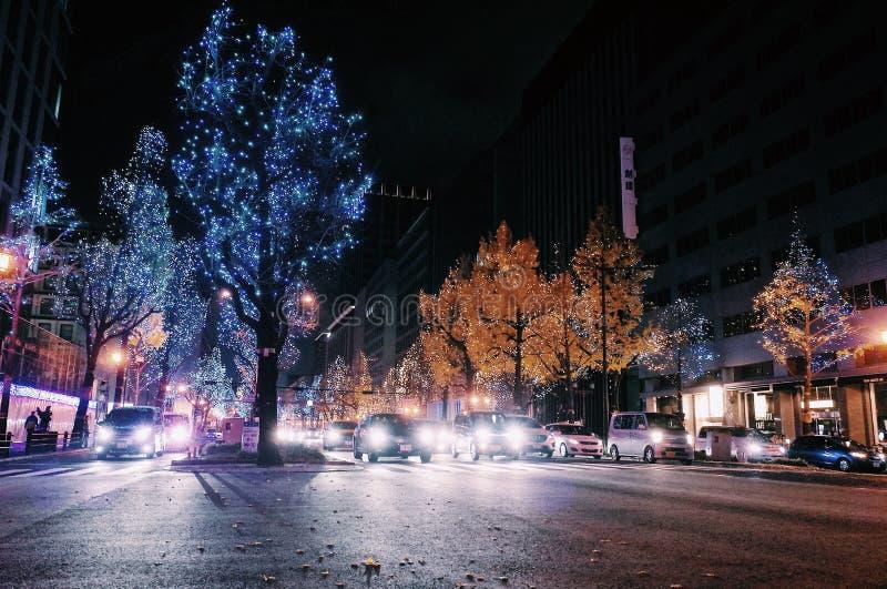 Kerstmisverlichting in Osaka royalty-vrije stock fotografie