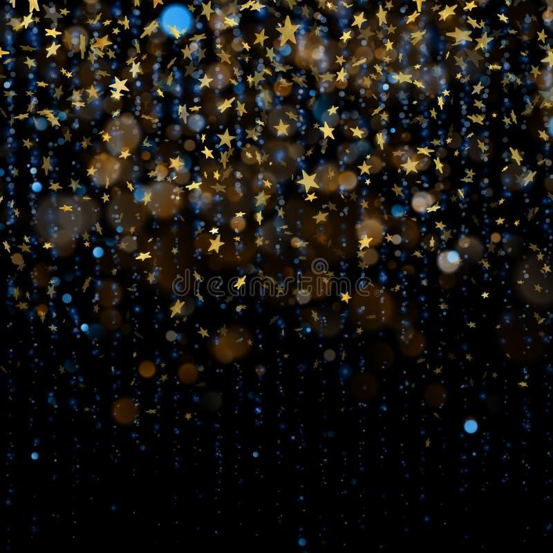 Kerstmisviering of abstract concept Schitterende sterren op donkere achtergrond Eps 10 royalty-vrije illustratie