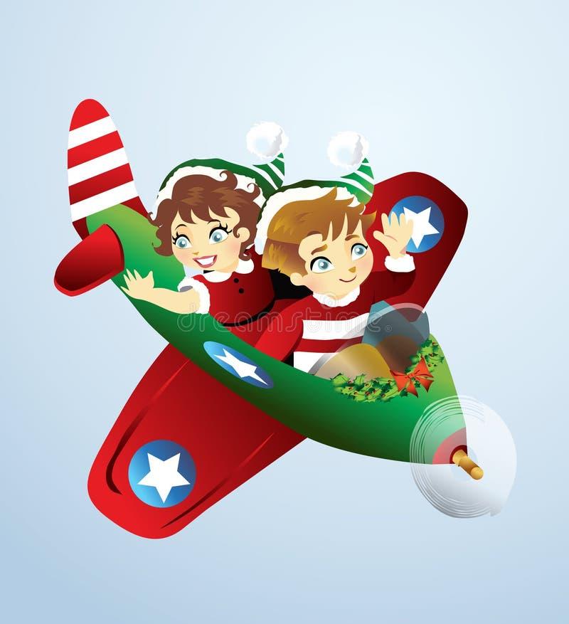 Kerstmisvliegtuig stock illustratie