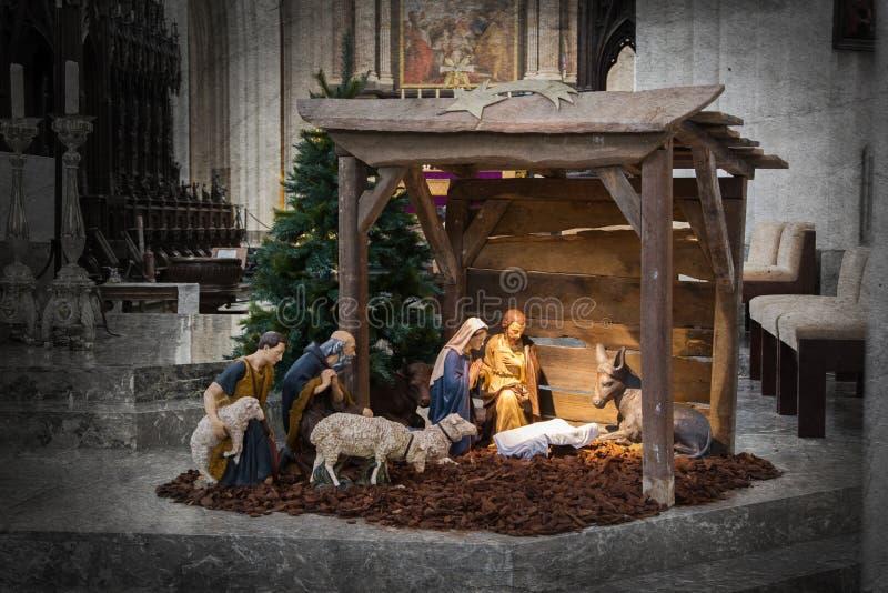 Kerstmisvoederbak, vóór Kerstmis royalty-vrije stock afbeeldingen